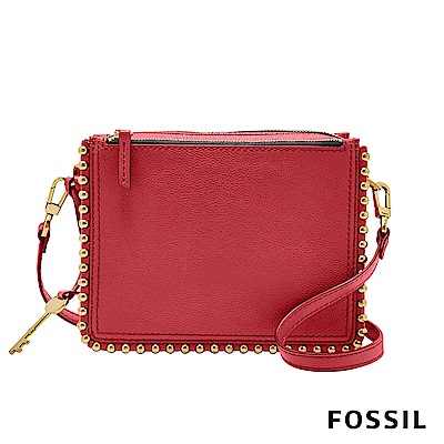 FOSSIL CAMPBELL 時尚鉚釘多夾層隨身小方包-紅色