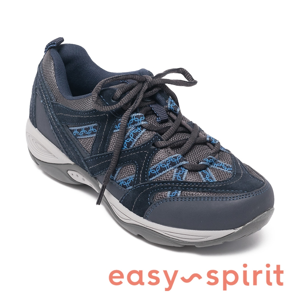 easy spirit-EXPLOREMAP 拼色麂皮綁帶機能運動鞋-藍色