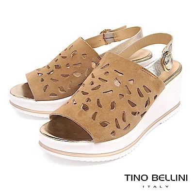 Tino Bellini 歐洲進口真皮寬帶雕花楔型涼鞋 _ 棕