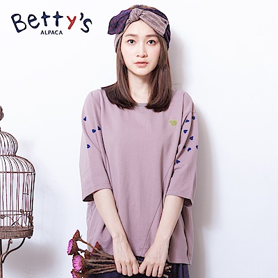 betty's貝蒂思 氣質愛心印花七分袖T-shirt(藕粉)