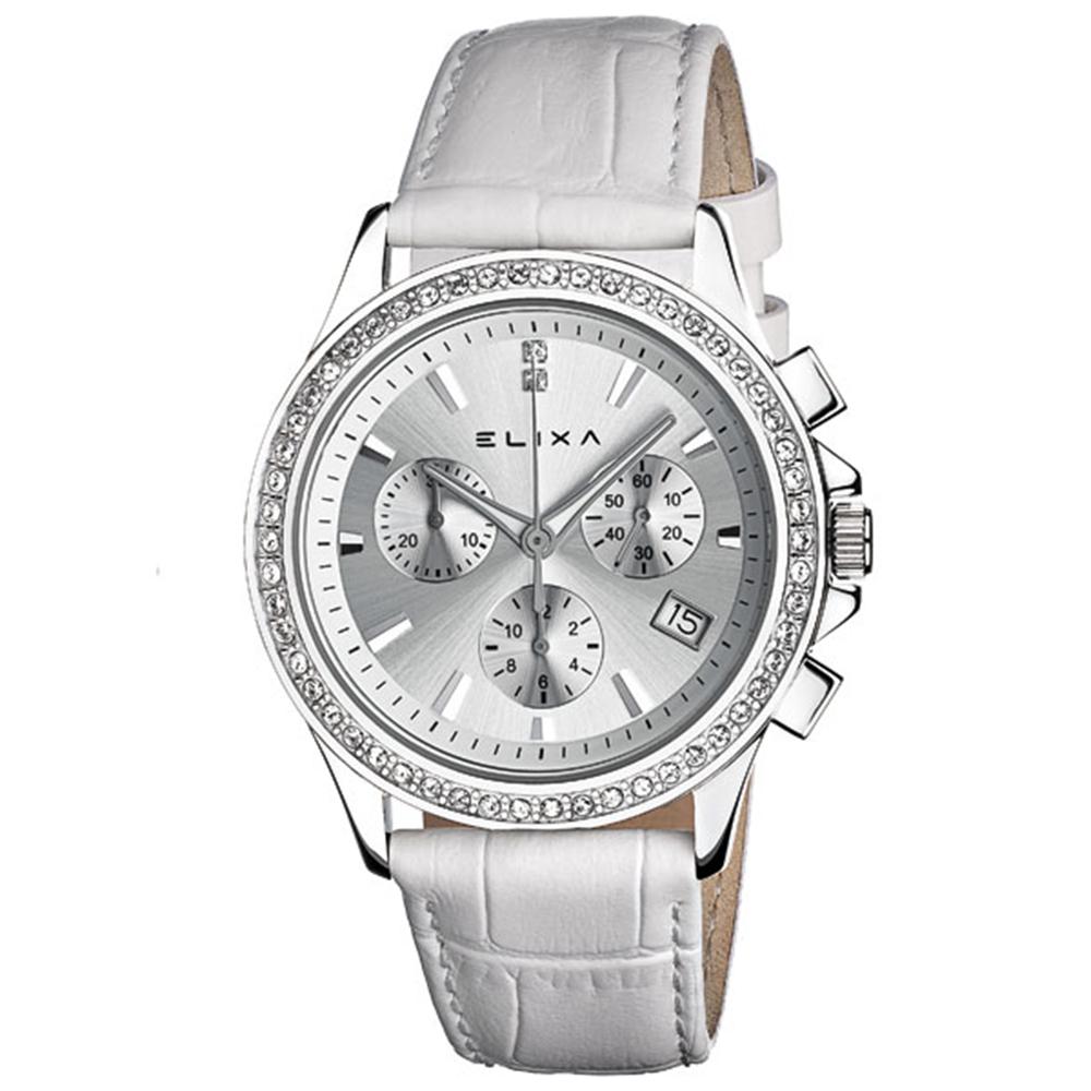 ELIXA ENJOY晶鑽三眼刻度系列 銀X白色皮革錶帶手錶38mm