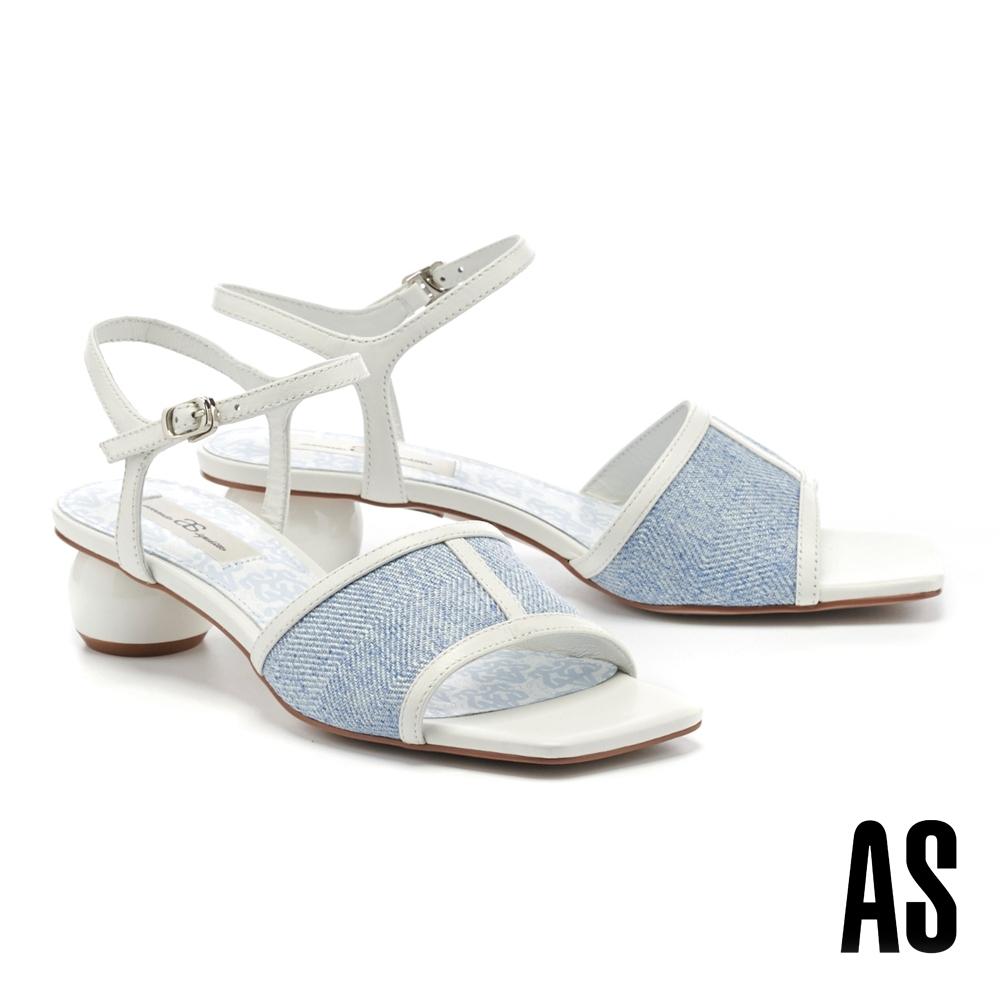 涼鞋 AS 悠閒風情異材質拼接斜紋布羊皮方頭低跟涼鞋-藍