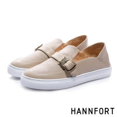 HANNFORT CAMPUS 貓頭鷹後踩樂福休閒鞋-女-卡其