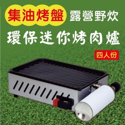 金德恩 四人份集油烤盤設計環保迷你烤肉爐