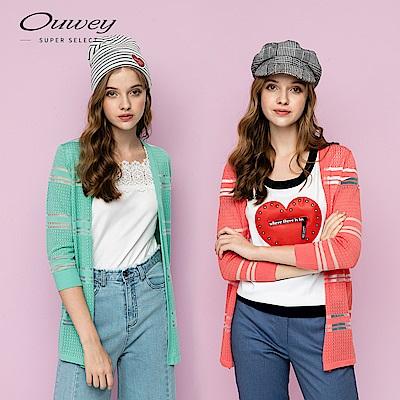 OUWEY歐薇 透明縷空織紋長版衫(白/桔/綠)