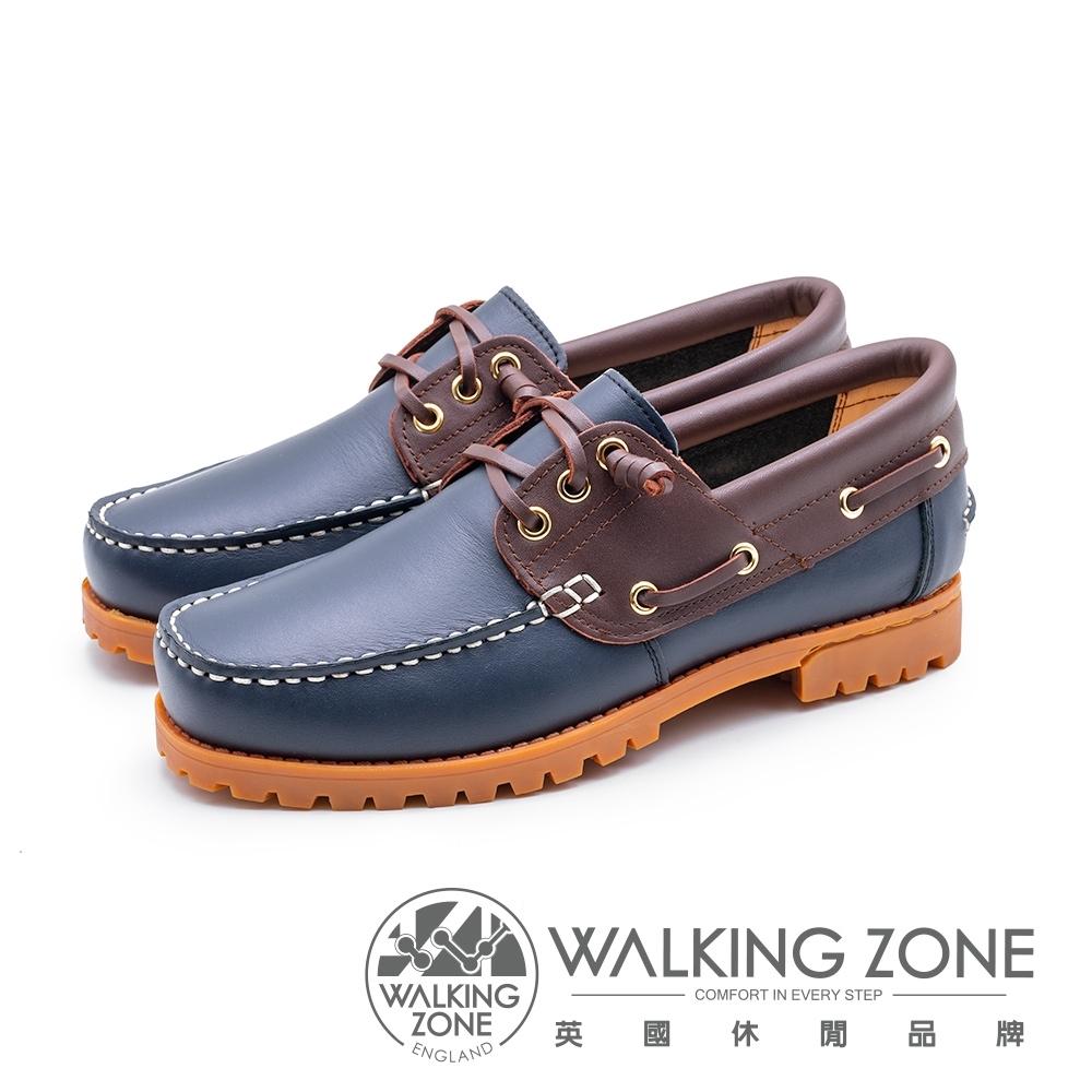 WALKING ZONE 撞色款 帆船雷根鞋 男鞋-深藍底(另有咖啡底)