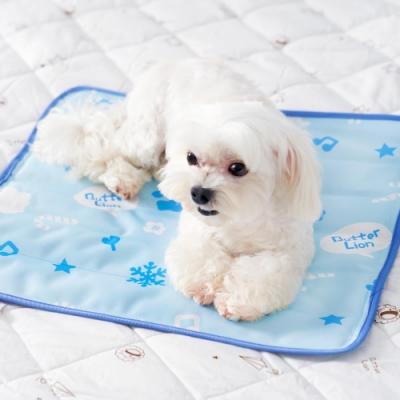 奶油獅-雪花樂園-長效型降6度涼感冰砂冰涼墊(40x45cm)小型寵物涼墊-藍色(一入)