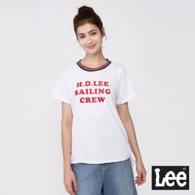 Lee 短T H.D. LEE側綁帶文字T恤 女款 白色