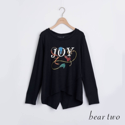 bear two- JOY印花後開衩造型上衣 - 黑