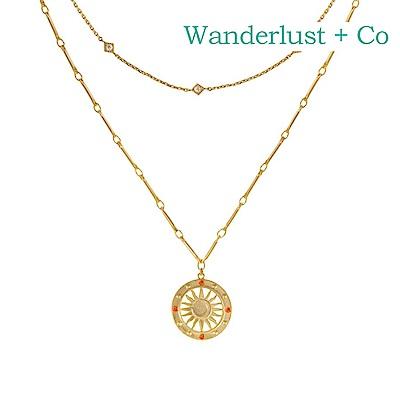 Wanderlust+Co 澳洲時尚品牌 SOLIS閃耀太陽項鍊 金色