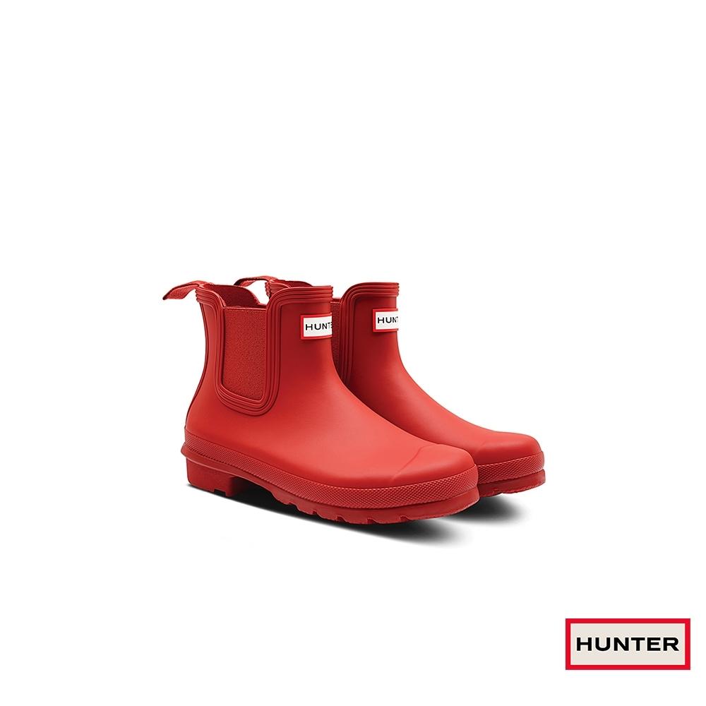 HUNTER - 女鞋 - Original新版切爾西霧面踝靴 - 紅