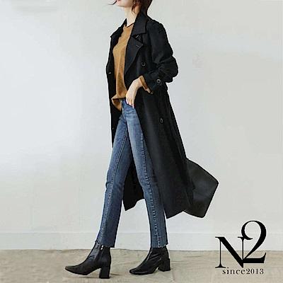 外套 正韓經典款雙排釦綁帶長版風衣外套 (黑) N2