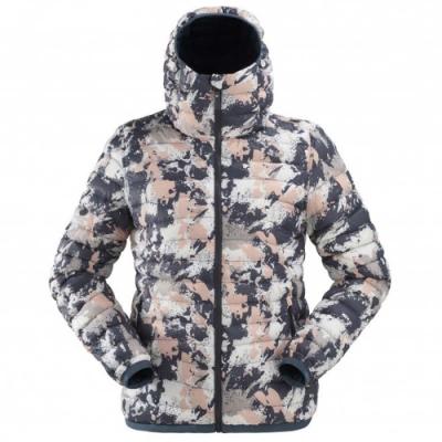 法國【EiDER】女保暖透氣抗雪印花連帽雙面外套 / 9EIV4866 /迷彩粉