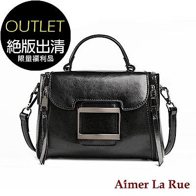 [福利品]Aimer La Rue 方格金屬復古手提側背包(黑色)(絕版出清)