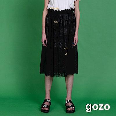 gozo 金色字母刺繡二件式層次網紗裙(黑色)