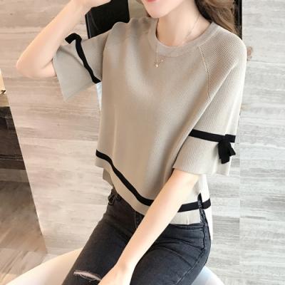 2F韓衣-簡約百搭圓領針織造型上衣-3色(S-XL)