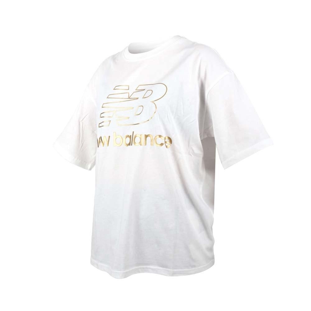NEWBALANCE 女寬鬆短袖T恤-純棉 慢跑 路跑 上衣 休閒 NB 大LOGO AWT03505WT 白金