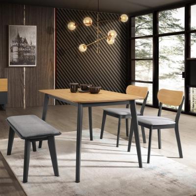 Boden-堤恩工業風4尺餐桌椅組合-原木色(一桌二椅一長凳)-120x75x75cm