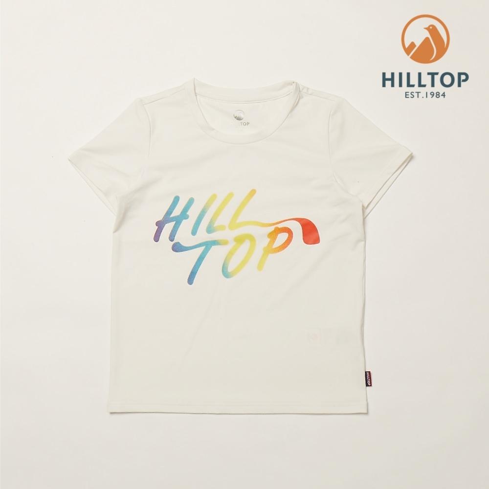 【hilltop山頂鳥】童款吸濕快乾抗UV彈性抗菌T恤PS04XC14ECB0白