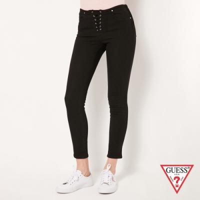 GUESS-女裝-素面綁帶修身牛仔褲-黑
