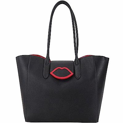 LULU GUINNESS Sofia 大型黑色皮革托特包