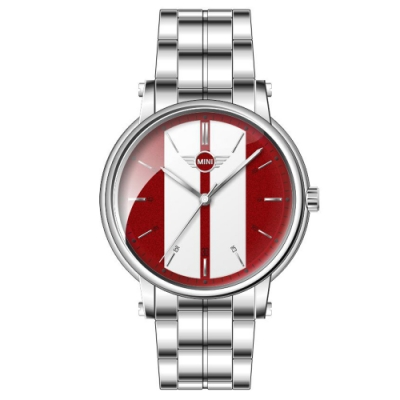 MINI Swiss Watches 石英錶  43mm 紅底白條錶面 不銹鋼錶帶