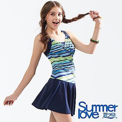 夏之戀SUMMERLOVE 條紋大女連身帶裙泳衣