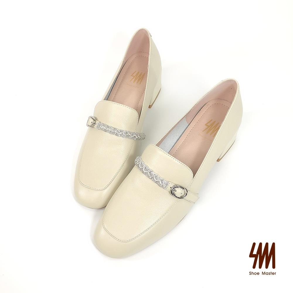 SM-方頭韓系質感剪裁中跟樂福鞋(香草米)