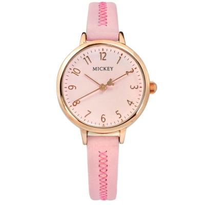 Disney 迪士尼 米奇指針 兒童錶 卡通錶 真皮手錶-粉紅x玫瑰金框/29mm