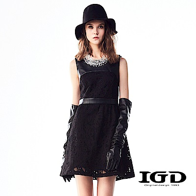 IGD英格麗 皮革拼接蕾絲洋裝-黑色