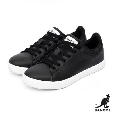 【KANGOL】經典復刻80週年限定皮質休閒鞋-女-黑