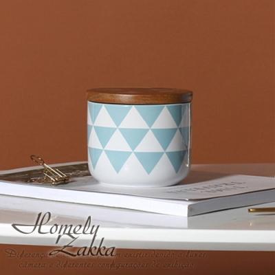 Homely Zakka北歐簡約幾何帶蓋陶瓷密封罐/儲物罐/收納罐(2款任選)