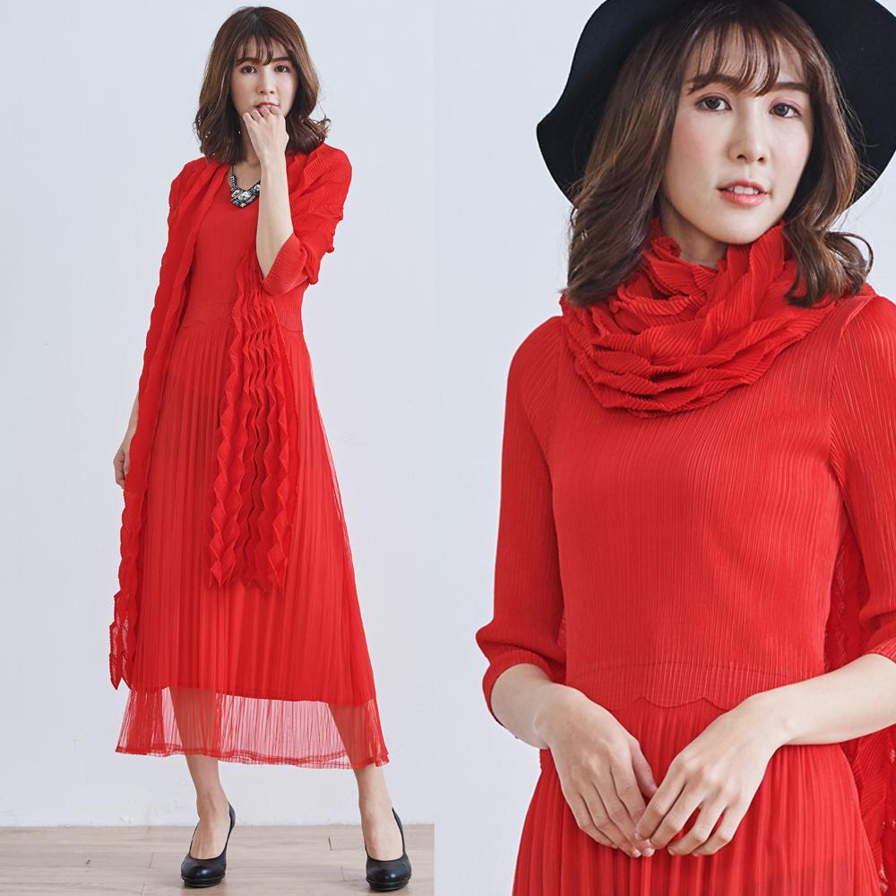 M@F摺衣 披肩網紗壓褶洋裝(含披肩)-紅色