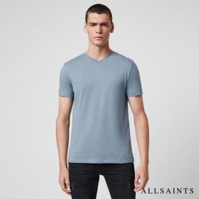 ALLSAINTS TONIC 經典公羊頭刺繡合身V領純棉短袖T恤-霧藍