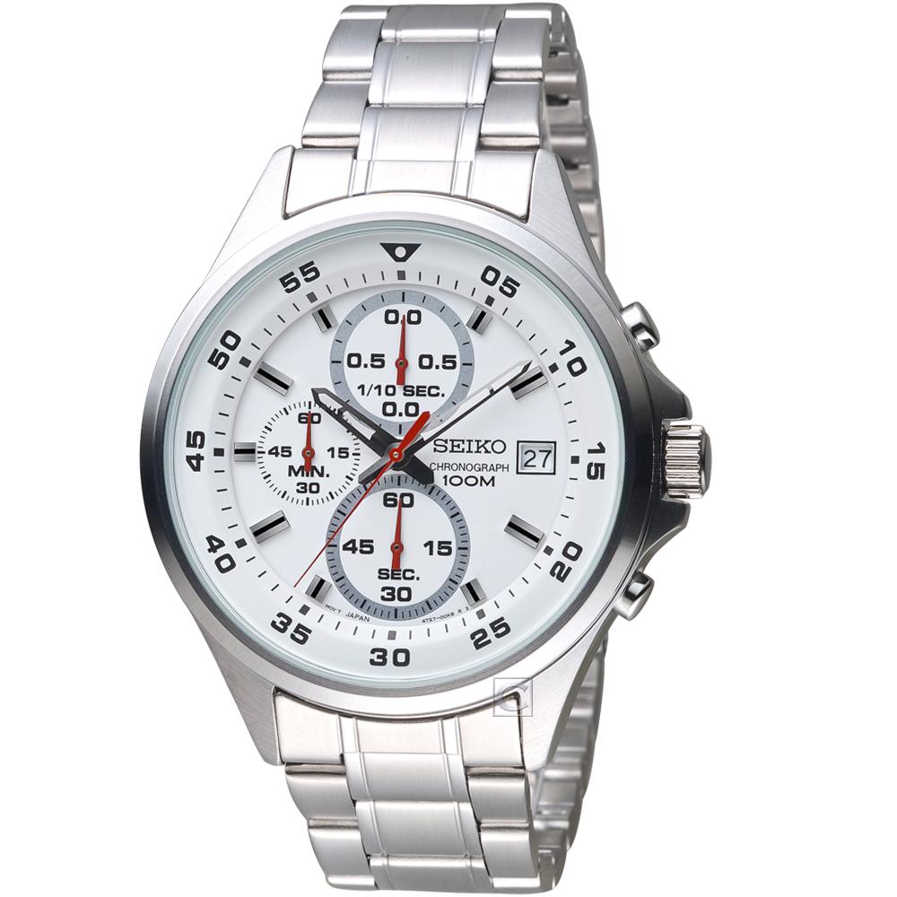 SEIKO精工經典潮流時尚計時腕錶(SKS623P1)-白