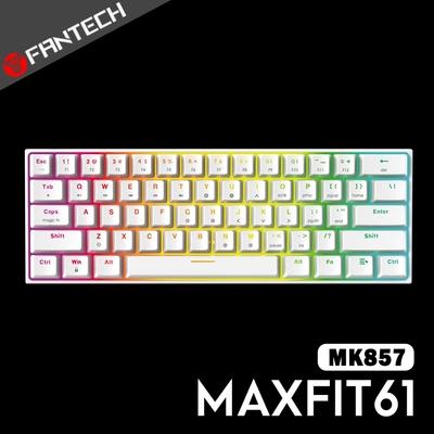 FANTECH MAXFIT61 60% RGB可換軸機械式鍵盤(MK857)-白