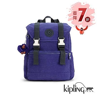 Kipling 後背包 靛紫素面-中