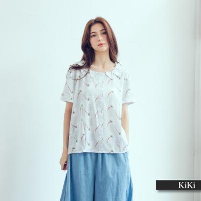 【KiKi】日系印花造型領口-女短袖襯衫(二色/版型適中)