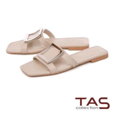 TAS 復古大方飾釦鏤空涼拖鞋-輕感膚