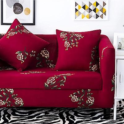 挪威森林 文藝復興舒適彈性沙發套/沙發罩-三人座(贈一個抱枕套)