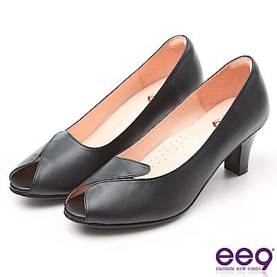 ee9 MIT經典手工驚豔美人魚口粗跟包鞋 黑色