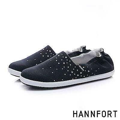 HANNFORT CALIFORNIA閃耀點點鬆緊輕量棉布鞋-女-星光黑