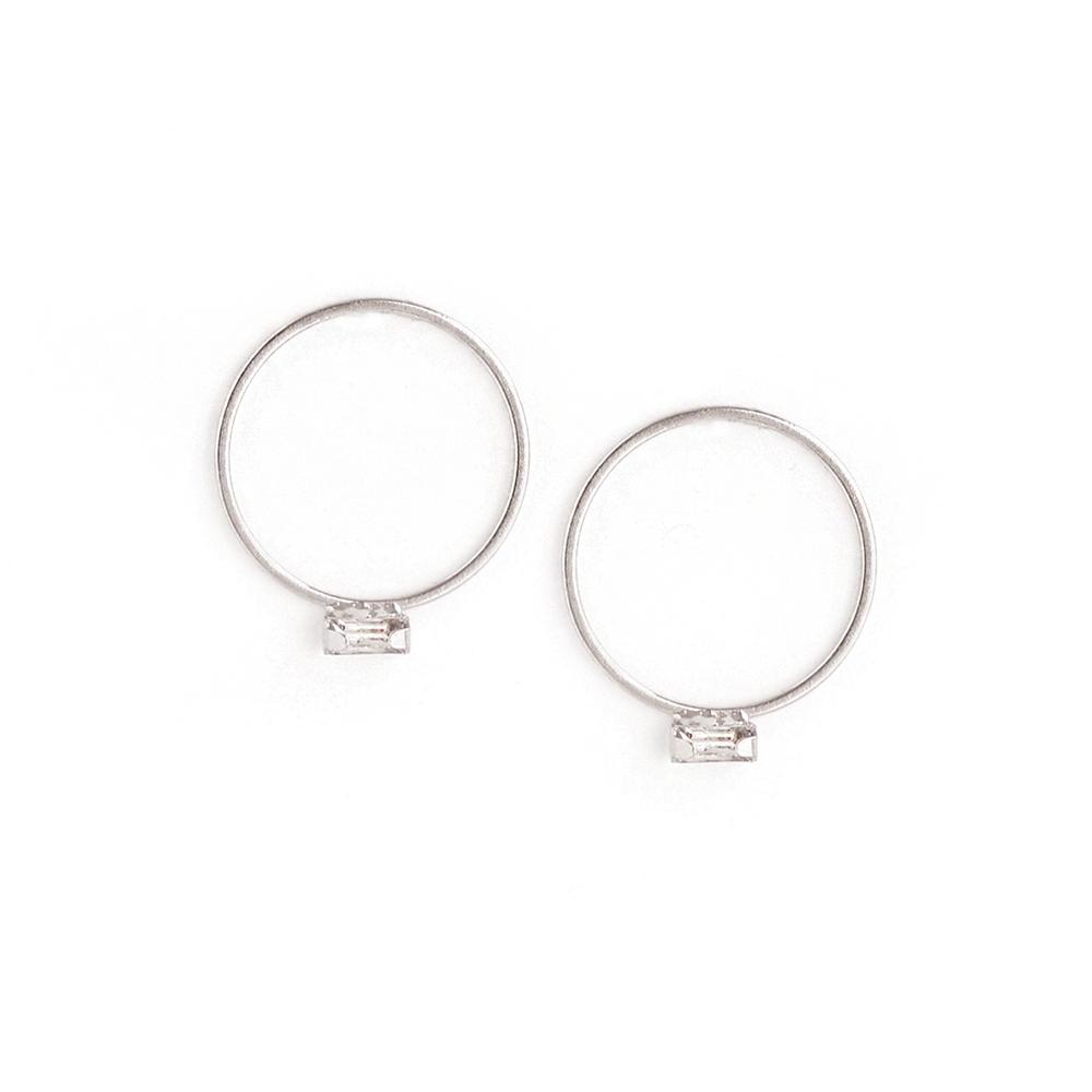 LOVERS TEMPO加拿大品牌 長方形水晶銀色圓圈耳環