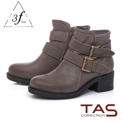 TAS復古擦色羊皮扣帶工程靴-卡其灰