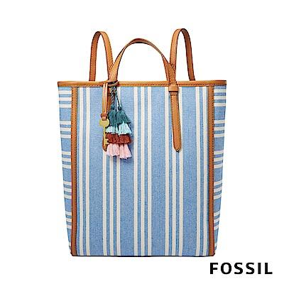 FOSSIL CAMILLA 條紋多變風格背包-天藍色