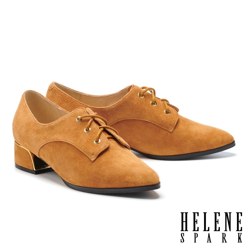 低跟鞋 HELENE SPARK 經典簡約全真皮尖頭低跟鞋-咖
