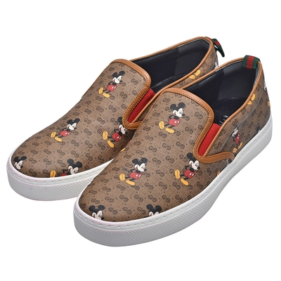 GUCCI Disney聯名系列米奇圖案GG帆布復古仿舊風格休閒鞋(男)