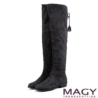 MAGY 展現獨特風采 2WAY造型後邊綁帶絨布膝上靴-灰色