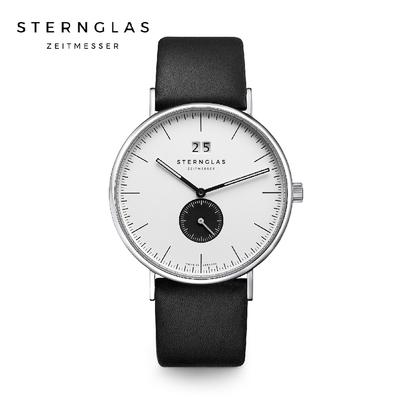STERNGLAS 德國希丹格斯 S01-IV01-PR07 伊沃小三針白盤文青石英錶(黑錶帶) 40mm 男/女錶