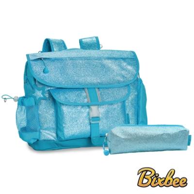 美國Bixbee - 閃采系列冰雪藍大童輕量減壓背書包筆袋超值組